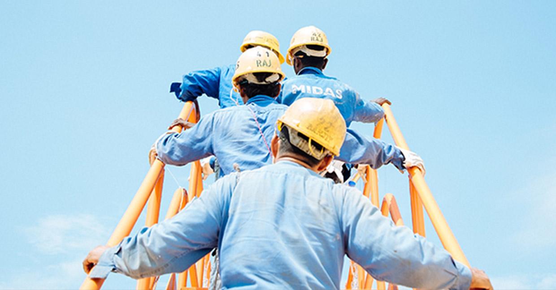 men going up ladder