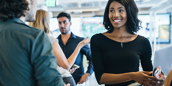 Young Woman Networking