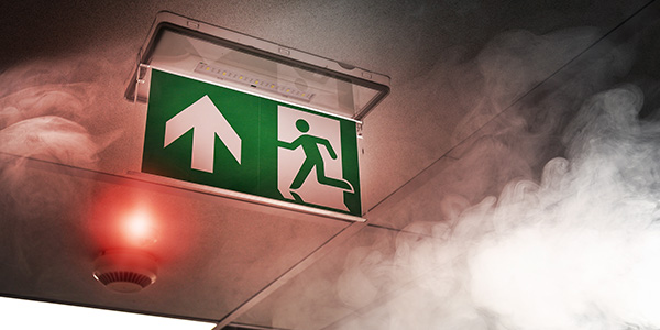 Exit sign in burning building
